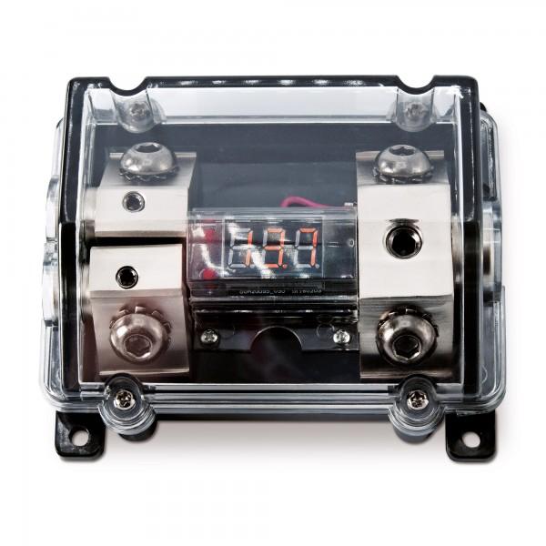 Sinustec SVB Sicherungsverteilerblock für ANL Sicherung mit roter digital Voltanzeige