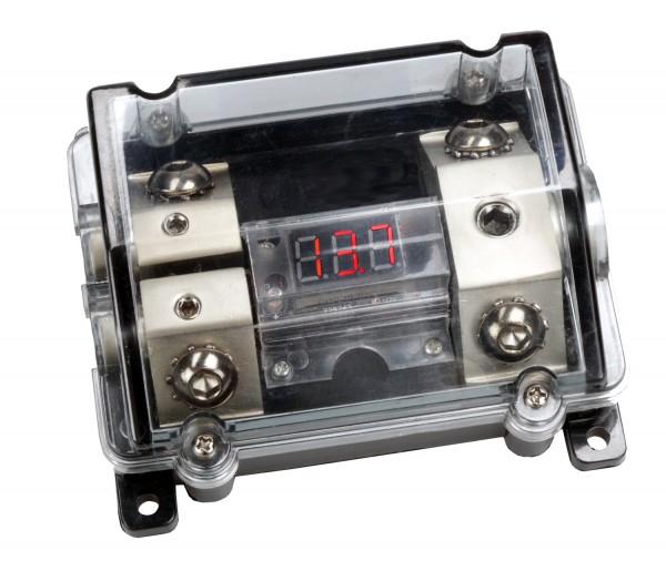 B-Ware Sinustec SVB Sicherungsverteilerblock für ANL Sicherung mit roter digital Voltanzeige